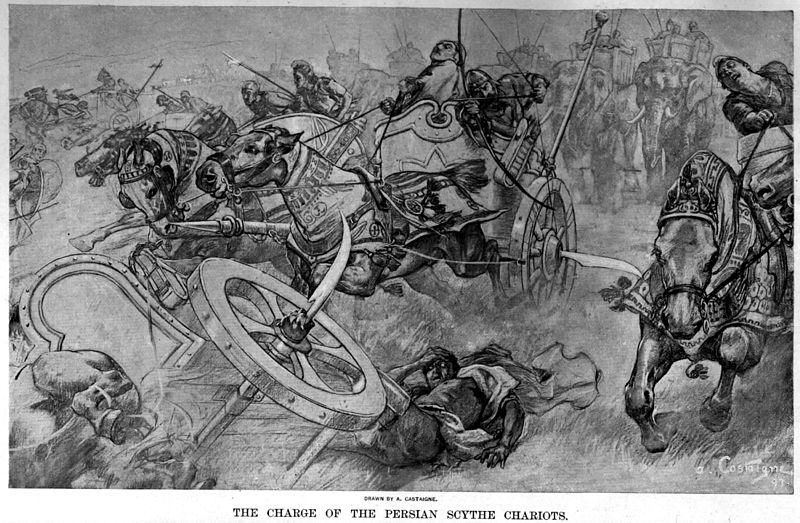 800px-The_charge_of_the_Persian_scythed_chariots_at_the_battle_of_Gaugamela_by_Andre_Castaigne_(1898-1899)